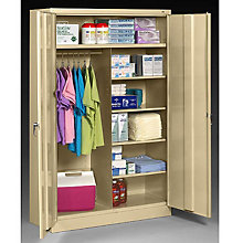 """Fully Assembled Steel Wardrobe/Supply Combo Cabinet - 48""""W x 24""""D x 78""""H, 8804076"""