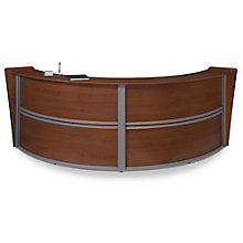 "Marque Curved Double Reception Station - 121.25""W x 48.5""D, OFM-55292"