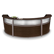 """Marque Curved Three Piece Reception Station with Plexi - 142""""W x 71""""D, OFM-55313"""