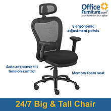 24/7 Big and Tall Mesh Headrest Chair with Fabric Seat and Memory Foam, 8801906