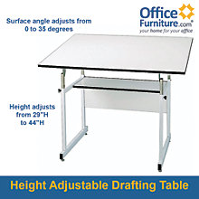 WorkMaster Junior Four-Post Drafting Table with White Base, ALV-WMJ48-4-XB