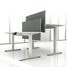 "EZ Lift Set of Two Height Adjustable Desks with Privacy Screens - 72""W , 8804152"