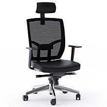 TC-223 Mesh Back Task Chair with Headrest and Leather Seat, 8804609