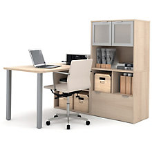 i3 Metal Leg Desk With Frosted Glass Hutch, 8802213