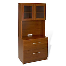 100 Series Two Drawer Lateral File with Glass Door Hutch, JES-10719