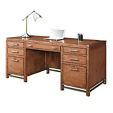 """Arcadia Double Pedestal Desk with Metal Accents - 64""""W, 8804238"""