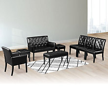 Tufted Faux Leather Reception Set, 8804625