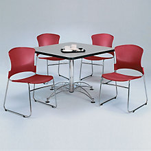 "Breakroom Set - Four Plastic Stack Chairs and 42"" Square Table, OFG-TS1022"