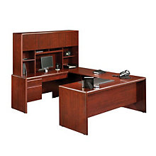 Cornerstone Classic Cherry Reversible U-Desk with Hutch, OFG-UD0031