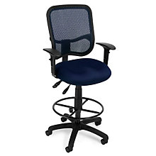 Mesh Back Drafting Stool with Arms, OFM-130-AA-DK