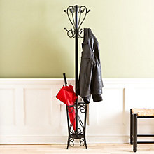 "Scrolling 69""H Coat Rack with Umbrella Stand, 8802769"
