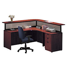 Cherry L Shaped Receptionist Desk With Right Return, STL-7171R