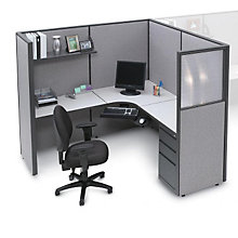 Pewter Haze Complete Cubicle with L-Workstation and Box/Box/File Pedestal, OFG-LD1148