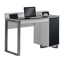 """Enterprise Glass Top Desk with Power and Speakers - 47.5""""W, 8804982"""