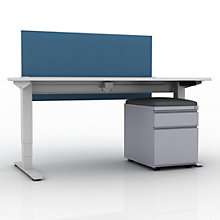 """EZ Lift Height Adjustable Desk with Privacy Screen and Mobile File - 60""""W, 8804146"""