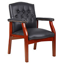 Leather Traditional Tufted Guest Arm Chair, 8803684