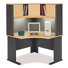 "Series A Corner Desk with Hutch and Task Lighting - 47.25""W, BUS-10134"