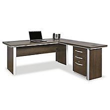 "Reversible L-Desk with Pedestal - 72"", 8804490"