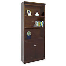 """Fulton Five Shelf Contemporary Bookcase with Doors - 72"""" H, MRN-FL3072D"""