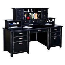 Tribeca Loft Black Executive Desk with Two Hutches, OFG-DH1072