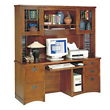 Mission Oak Computer Credenza with Hutch, OFG-DH1000