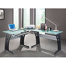 l shaped frosted glass computer desk