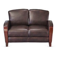 Wood Trim Loveseat in Faux Leather, 8802559