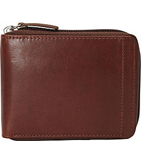 Mancini Leather Goods Casablanca Collection: Men's RFID Zippered Wallet with Removable Passcase