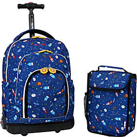J World New York Lollipop Kids Rolling Backpack with Lunch Bag (Kids ages 3-7)