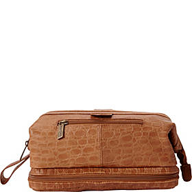AmeriLeather Leather Toiletry Bag w/ Accessories