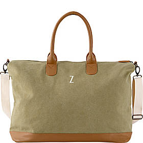 Cathy's Concepts Monogram Washed Canvas Oversized Weekender Tote