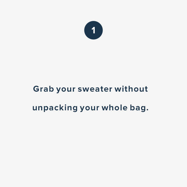 Grab your sweater without unpacking your whole bag.