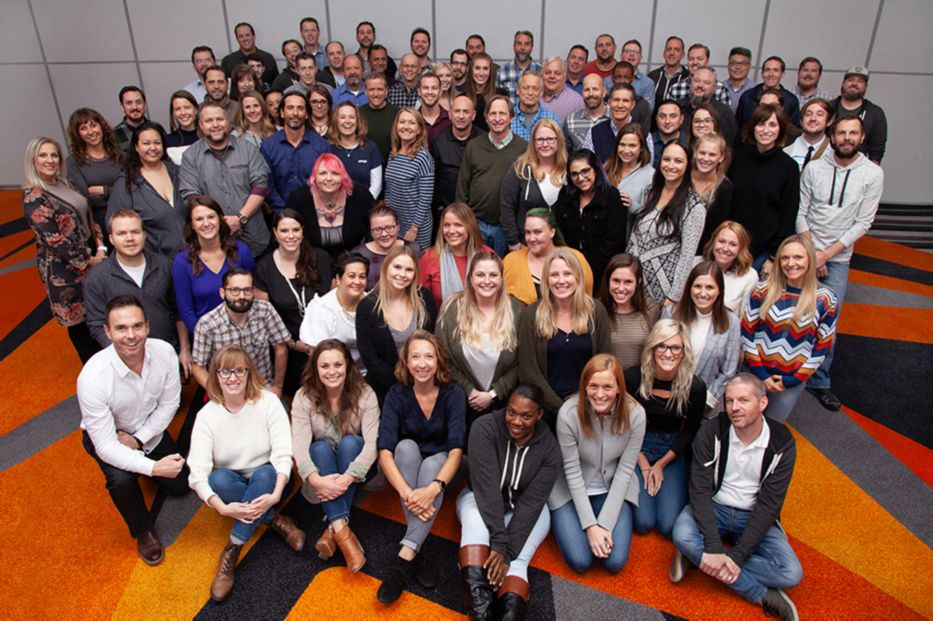 Group photograph of all eBags employees