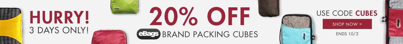 Hurry! 3 Days Only! Ends 10/3 - 25% Off eBags Brand Packing Cubes - Use Code: Cubes - Shop Now