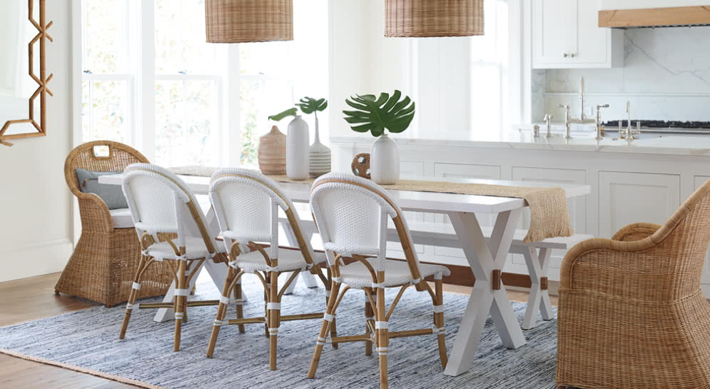 coastal dining area - Serena and lily spring sale - pinteresting plans blog