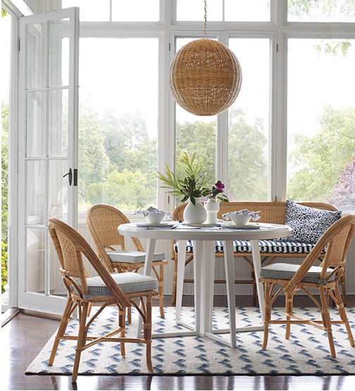 Bistro dining chairs in a beautiful breakfast area - Serena & Lily.