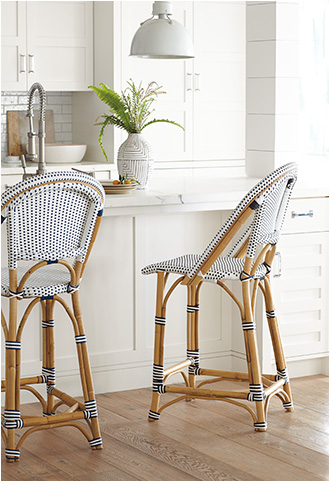 Riviera counter stools at a breakfast bar - Serena & Lily.