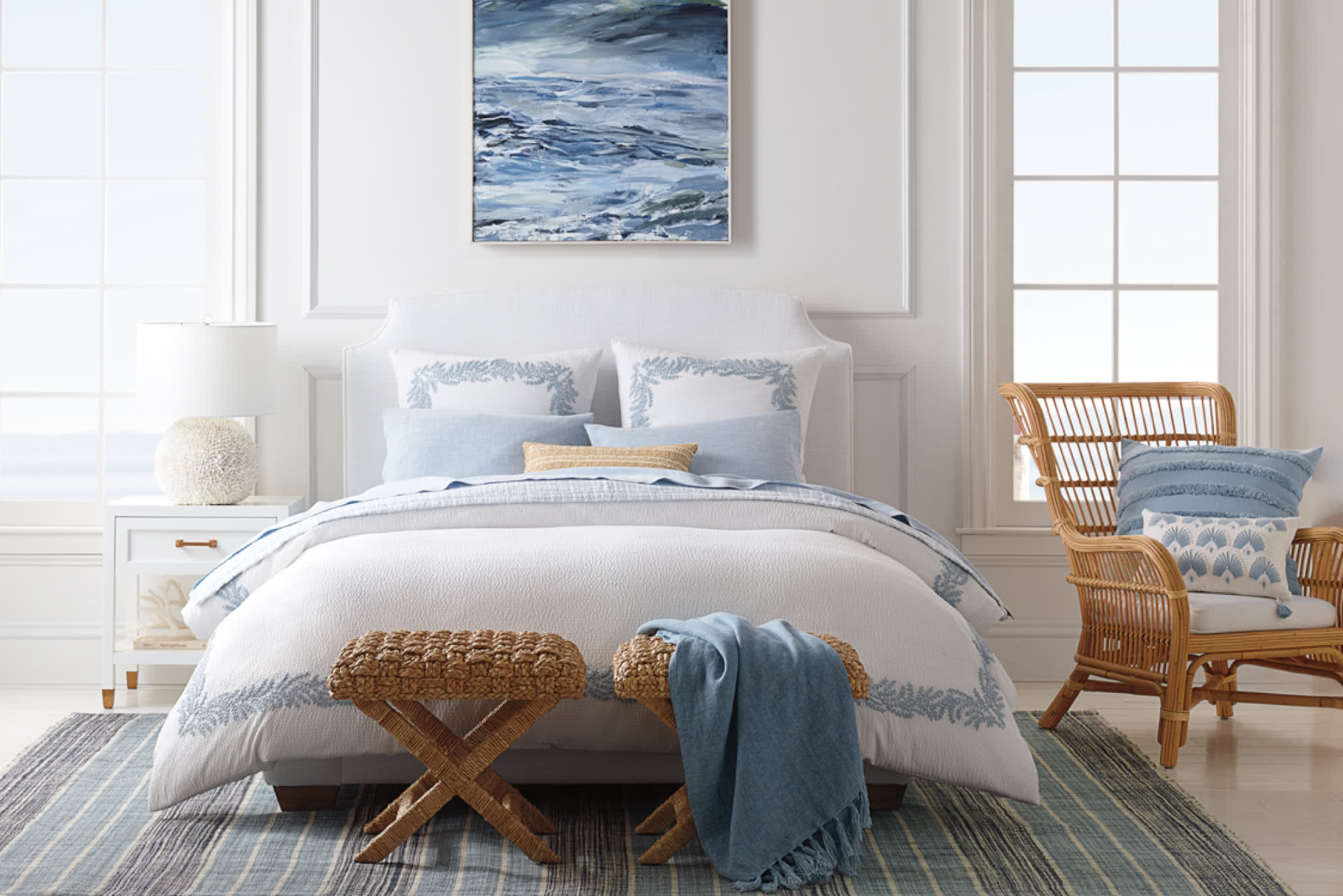 Blue and white dreamy coastal bedroom - Serena and Lily.
