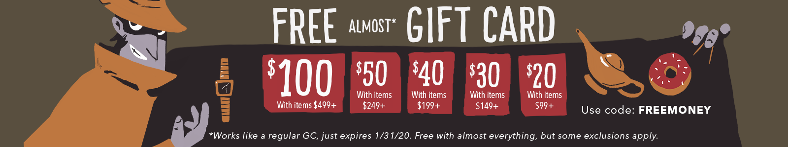 Get a Free Almost Gift Card with Any Item Over $99