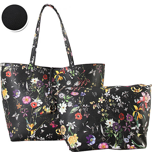Diophy Colorful Floral Pattern Two-Tone Reversible Large Tote with Matching Crossbody 2 Piece Set