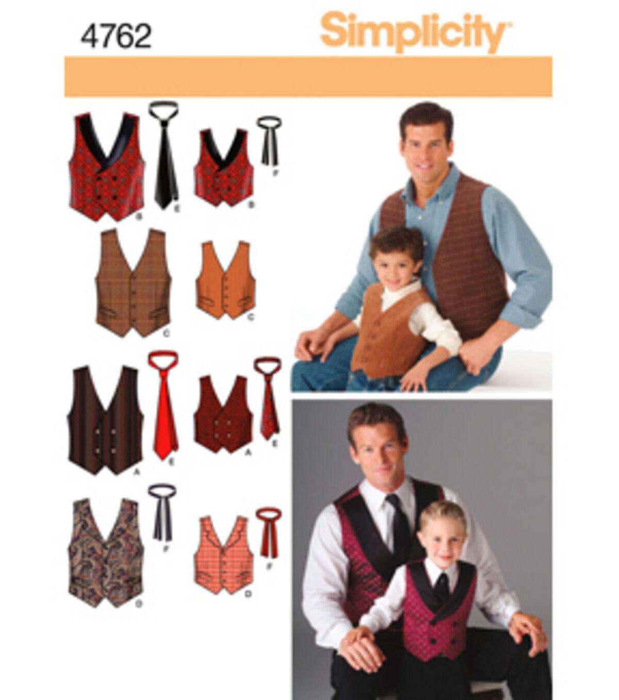 Men's Vintage Reproduction Sewing Patterns Vests Simplicity Pattern 4762A S M LS M - Simplicity Men Boy $8.97 AT vintagedancer.com