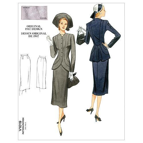 1940s Sewing Patterns – Dresses, Overalls, Lingerie etc 1947 Vogue Patterns Misses Suits - V1019 $16.50 AT vintagedancer.com