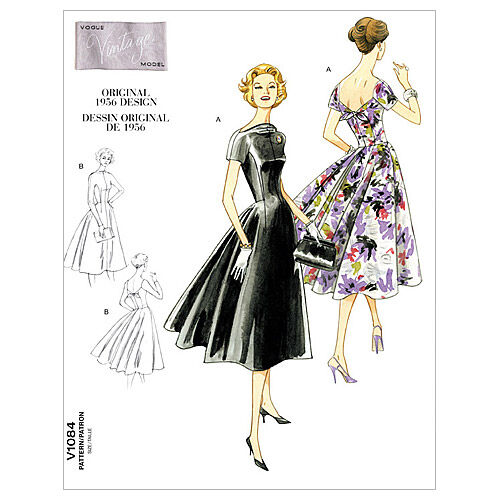 1950s Sewing Patterns | Dresses, Skirts, Tops, Mens Vogue Patterns Misses Dress - V1084 $16.50 AT vintagedancer.com