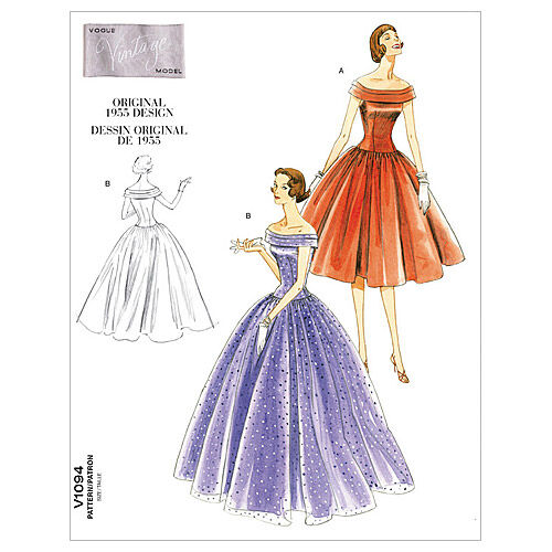 1950s Sewing Patterns | Dresses, Skirts, Tops, Mens 1955 Vogue Patterns Misses Dress - V1094 $16.50 AT vintagedancer.com