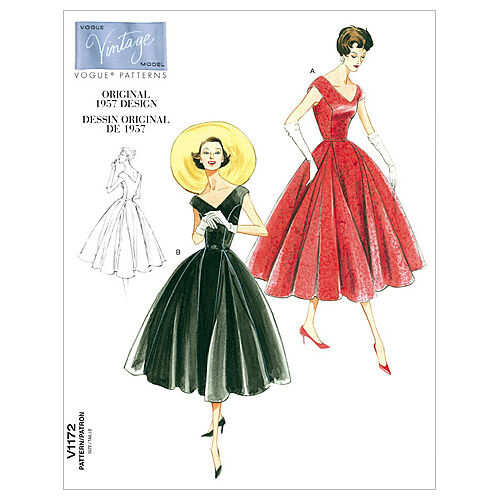 1950s Sewing Patterns | Dresses, Skirts, Tops, Mens Vogue Patterns Misses Dress - V1172 $16.50 AT vintagedancer.com