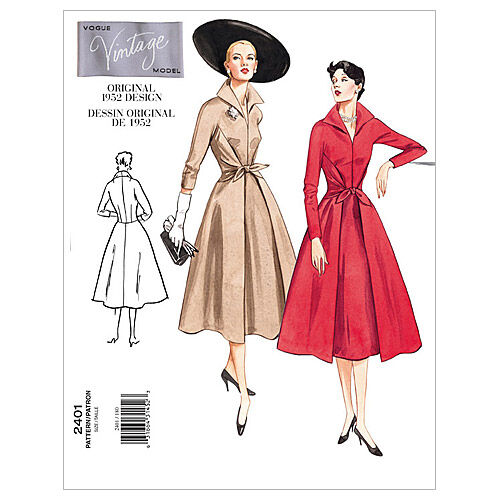 1950s Sewing Patterns | Dresses, Skirts, Tops, Mens 1952 Vogue Patterns Misses Dress - V2401 $15.00 AT vintagedancer.com