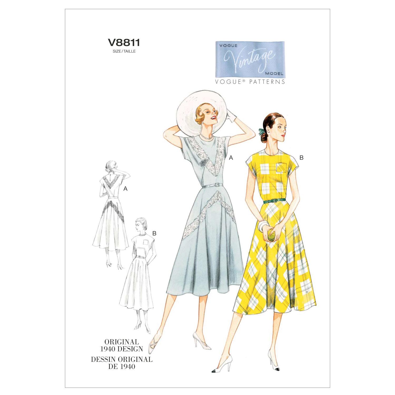 1940s Sewing Patterns – Dresses, Overalls, Lingerie etc 1940 Vogue Patterns Misses Dress - V8811 $18.00 AT vintagedancer.com