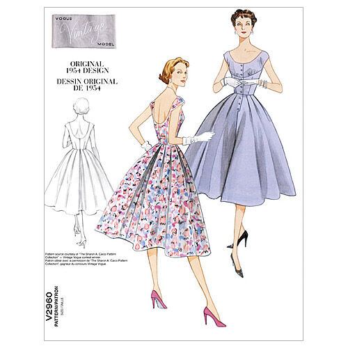 1950s Sewing Patterns | Dresses, Skirts, Tops, Mens 1954 Vogue Patterns Misses Dress - V2960 $15.00 AT vintagedancer.com