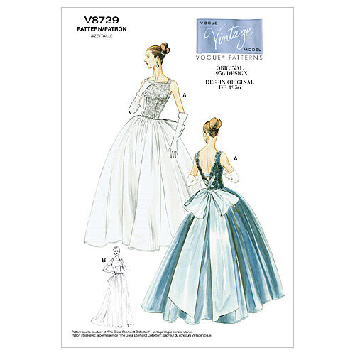 1950s Sewing Patterns | Dresses, Skirts, Tops, Mens 1956 Vogue Patterns Misses Dress - V8729 $16.50 AT vintagedancer.com