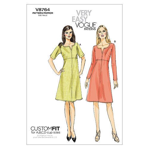 1960s – 70s Sewing Patterns- Dresses, Tops, Pants, Mens Vogue Patterns Misses Dress - V8764 $13.50 AT vintagedancer.com